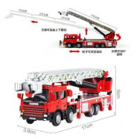 [globalbuy] KDW 1:50 Scale Diecast Ladder Fire Truck Construction Vehicle Cars Model Toys/4559001