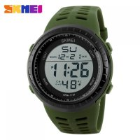 Jam Tangan Pria SKMEI Sport Watch Silicone Strap Water Resistant 50m - 1167 Army Green