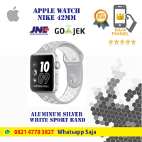 Apple watch series2 nike+42mm silver with silver/white garansi apple