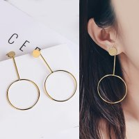 RFSJNI001 Minimalist Circle Long Earrings Gold