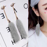 RFSJNI011 - 12 - 13 Long Paragraph Mink Earrings