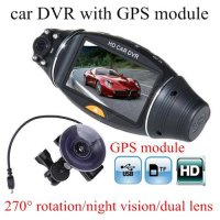 [globalbuy] HD Car DVR R310 dual lens GPS tracker G-sensor IR Camera Cam Video Recorder co/4523094