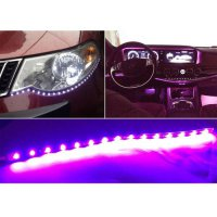 [globalbuy] 10pcs DC12V 30cm 15 SMD LED Car Truck Flexible Waterproof Light Strip Purple/4524488