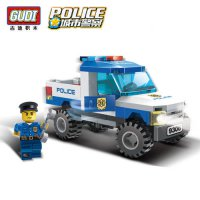 [globalbuy] GUDI City Police Truck Car Blocks Toys Assembled Model Building Kits Blocks To/4461218
