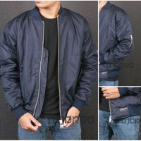 Jaket Bomber / Warna Biru Navy / Waterproof