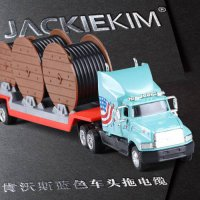 [globalbuy] 1:64 high simulation truck, alloy construction vehicles, US Trailers, toy car /4462870