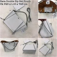 Tas Zara Double Zip Set Pouch Bahan Taiga Ready 2 Warna White N BlacK