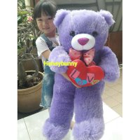 Boneka teddy bear love ungu