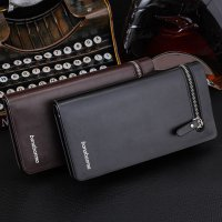 Men Long Section Zip Bifold Business Leather Wallet Card Coin Wallet Purse