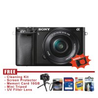 Sony A6000 - 24.3 MP - Kit Lens 16-50 mm Garansi Resmi - FREE Accessories