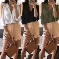 Women Summer Loose Casual Cold Shoulder Chiffon Shirt Tops Blouse Long Sleeve