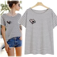 Heart brooch striped short sleeve polo shirt [Fondant] [CA58] korean fashion style K-fashion