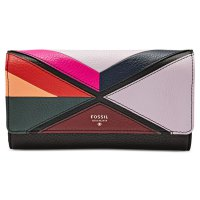 Fossil Patchwork Flap Dompet Wanita - Hitam