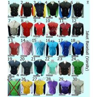 Jaket Baseball Polos Cotton Fleece M,L,XL (30 Warna)