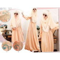 DRESS MUSLIM MAXI HARSANAH SALEM SATEN VELVET COMBI RENDA INDIA FREE PASHMINA
