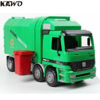 [globalbuy] KAWO Original Children Garbage Truck Sanitation Trucks Toy Car Model with 3pcs/4567342