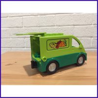 Lego Duplo Lime Van Truck Bus with Green Base and Vegetables Pattern