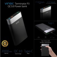 [Gold Product] VINSIC POWER BANK 20000mAh QUICK CHARGE 3.0 DUAL INPUT WITH TYPE C