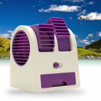 [globalbuy] Purple Small Fan Cooling Portable Desktop Dual Bladeless Air Conditioner Fan U/4316738