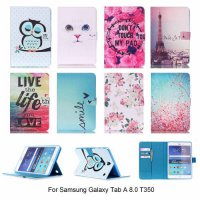 [globalbuy] white cat Folding stand cover For Samsung Galaxy Tab A 8.0 T350 case magnetic /4497276