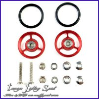 Rep Tamiya Roller Aluminum 3 Spoke w/ Rubber 17mm -Red (R3R1704)