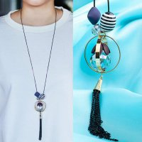 RFSDES351 Crystal Long Fringed Sweater Chain Necklace