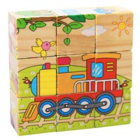 [globalbuy] 9Pcs Cartoon Wooden Puzzle Toys Wooden Truck Car Excavator Transportation Jigs/4450181