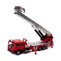 [globalbuy] KDW Ladder Fire Truck 1/50 Scale Diecast Car Model Toys Fire Truck Constructio/4567196