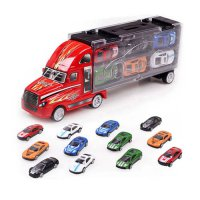 [globalbuy] 12pcs/lot Portable Plastic Container Truck Alloy Car Model Toys Metal Cars toy/4558840