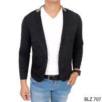 Casual Trendy Male Blazers Stretch Hitam – BLZ 707