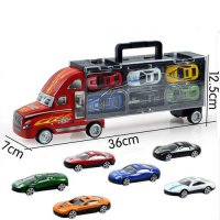 [globalbuy] New container truck with 6Pcs 12Pcs alloy small cars childrens toys for Christ/4463912