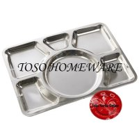 Stainless Food Tray 6 Compartment Food Plate Serving Piring Makan
