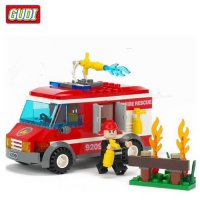 [globalbuy] GUDI Fire Truck Blocks for Children Kids Educational Assembled Car Blocks Toys/4451159