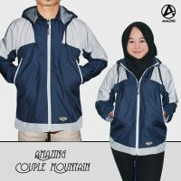 JAKET OUTDOOR COUPLE NAVY PUTIH