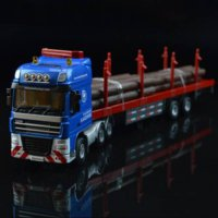 [globalbuy] Lumber Truck Alloy Truck Trailer 1:50 Children Toy Car Model Birthday Gift Chr/4480559
