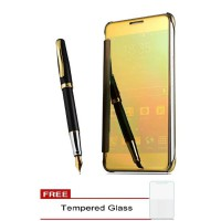 Samsung Galaxy A5 2017 Plating Mirror Clear View Flip Cover Case - GOLD (Free Tempered Glass)