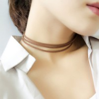 Kalung Choker Three Layer Coffee KN63943