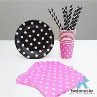Table Ware Party Set Mix (Pink, Hitam)