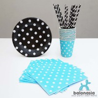 Table Ware Party Set Mix (Hitam, Biru)