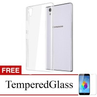 Case for Lenovo A6000 - Clear + Gratis Tempered Glass - Ultra Thin Soft Case