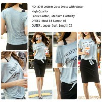HQ 13741 Letters 2pcs Dress with Outer