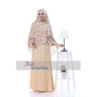 New Safeera Cantique Gamis Syar'i Safeera - Cream Muda