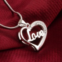 Kalung 925 Sterling Silver Love Letter Heart White Gold Plated