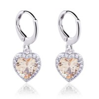 Anting 18k White Gold Filled Champagne Morganite Heart Shaped Shaped Dangling