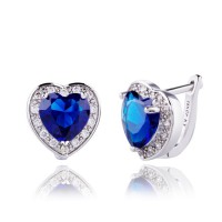 Anting 18k White Gold Filled Royal Blue Sapphire Heart Shaped Huggies