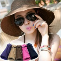 FASHION WOMEN HAT TOPI PANTAI Summer Beach Sun Hat beauty HOLIDAY AT THE BEACH