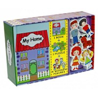 [HelloPandaBooks] My Home Play Set (Book, Puzzle, 5 Wooden Figures/People Toys)