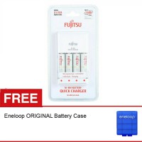 Fujitsu Quick Charger AA + 4 Battery 1900 mAH, Free Eneloop Battery Case