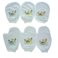 COSTLY WASLAP BULAT PUTIH BORDIR SLEEPING BEAR RO2 1UK - 6 setel