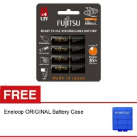 Fujitsu Battery AA PRO Rechargeable 2450mAH isi 4, Free Eneloop Battery Case